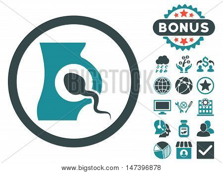 Artificial Insemination icon with bonus pictures. Vector illustration style is flat iconic bicolor symbols, soft blue colors, white background.