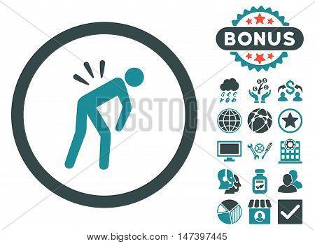 Backache icon with bonus pictogram. Vector illustration style is flat iconic bicolor symbols, soft blue colors, white background.