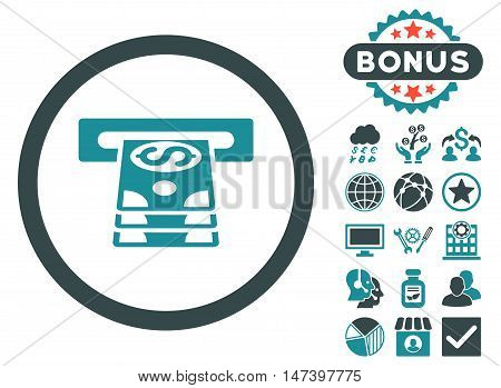 Bank Cashpoint icon with bonus design elements. Vector illustration style is flat iconic bicolor symbols, soft blue colors, white background.