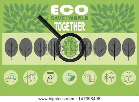 Infographics on the topic of How to save the world from environmental catastrophy with different illustrations