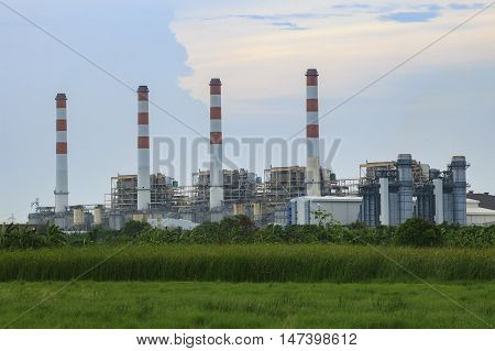 green environment and electric generator thermal plant in bangprakong eastern of thailand