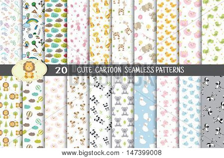 cute cartoon seamless patterns.pattern swatches included for illustrator user pattern swatches included in file for your convenient use.