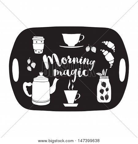 Salver with drinks vector illustration. Hand drawn pot, cups, mason jar, coffee, fruit smoothie, tea, croissants.