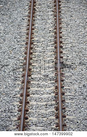 close up rail way in country Thailand