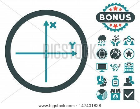 Cartesian Axis icon with bonus symbols. Vector illustration style is flat iconic bicolor symbols, soft blue colors, white background.