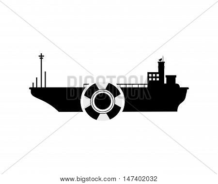 flat design cargo ship and  life preserver icon vector illustration