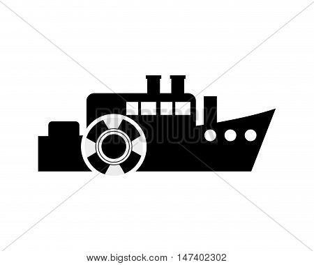 flat design ship and  life preserver icon vector illustration