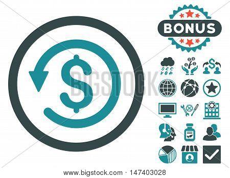 Chargeback icon with bonus symbols. Vector illustration style is flat iconic bicolor symbols, soft blue colors, white background.