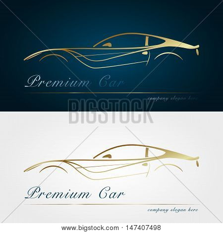 Car company dark and white background. Gold silhouette car. Badge app emblem. Design element. Vector illustration.