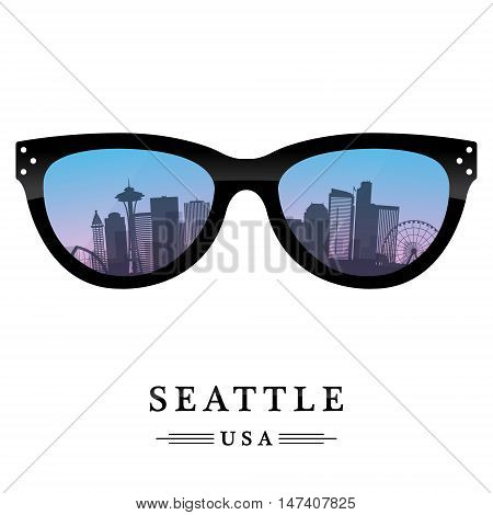 Seattle city skyline silhouette reflected in the glasses. Vector illustration.
