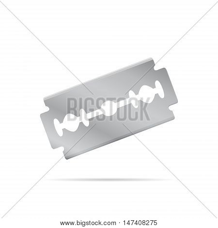 Realistic razor blade front view at an angle object 3d vector illustration isolated on white background eps 10