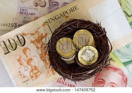 Singaporean coins in a nest with notes as background.