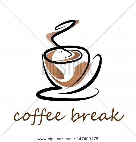Vector sign coffee break, isoladet on white