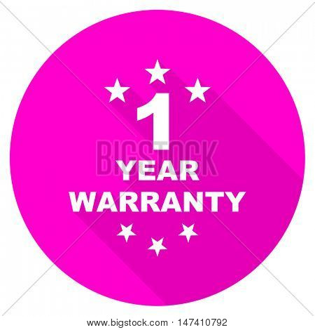 warranty guarantee 1 year flat pink icon
