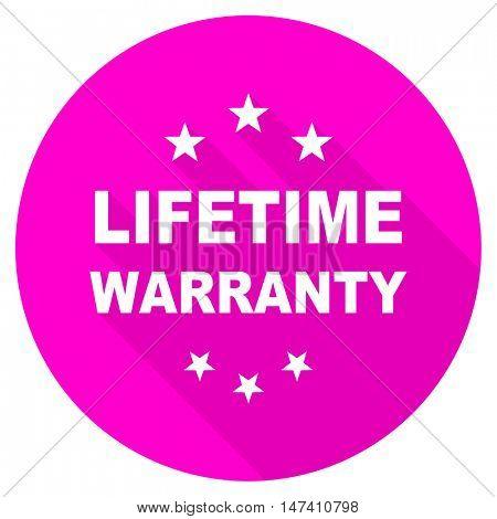 lifetime warranty flat pink icon