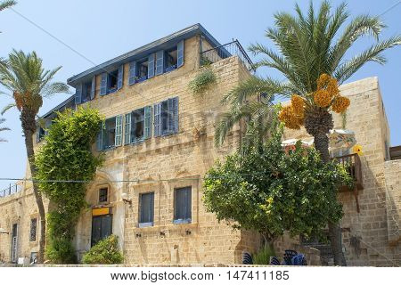 TEL AVIV, ISRAEL - August 24, 2016: old stone house in mediterranean style, the time of the British mandate in Old Jaffa on august 24, 2016 Tel Aviv, Israel