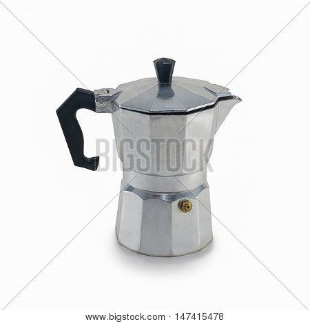 Mokapot coffee pot isolated on white background/Moka Coffee