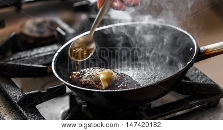 Beef Meat In A Frying Pan