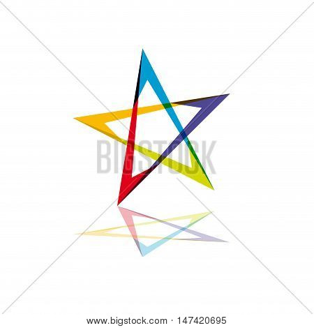 Vector sign colour star, isolated on white