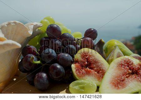 fruits amid sea grapes figs watermelon sea shells
