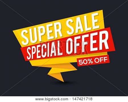 Super Sale with 50% Off, Creative Paper Tag, Banner, Poster or Flyer design, Vector illustration.