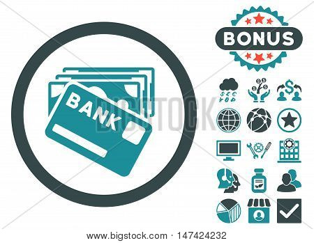 Credit Money icon with bonus pictogram. Vector illustration style is flat iconic bicolor symbols, soft blue colors, white background.