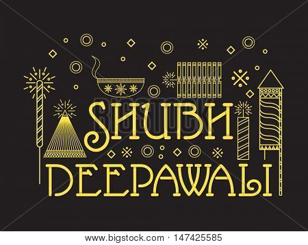 Line art illustration of firecrackers and oil lamp for Indian Festival Shubh Deepawali (Happy Deepawali) celebration.