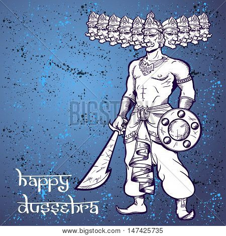 Text and Ravana. Postcard for holiday in India. Happy Dussehra.