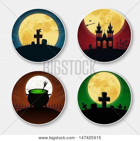 Design Stickers (icons) On Halloween.
