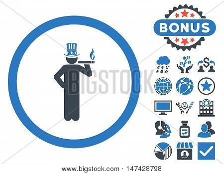 American Capitalist icon with bonus elements. Vector illustration style is flat iconic bicolor symbols, smooth blue colors, white background.