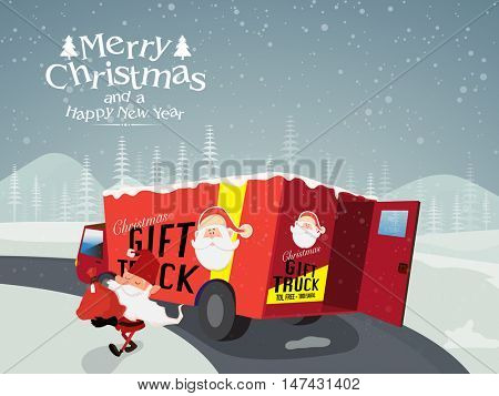 Red gift truck with Santa Claus on winter background for Merry Christmas and Happy New Year celebration.