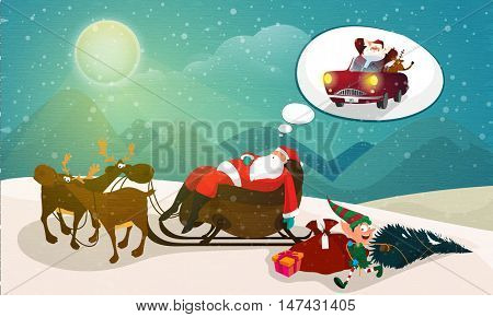 Santa Claus sleeping on reindeer sleigh and dreaming for Merry Christmas celebration.