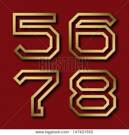 Five six seven eight gold angular numbers with shadow. Trendy and stylish golden font.