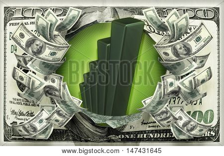 Bar Graph With Money 3D Illustration