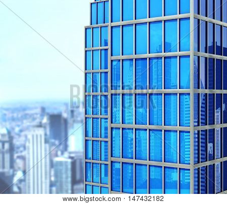 Modern skyscraper made of glass a top view of the city reflection of the city and sky in skyscrapers . 3d illustration
