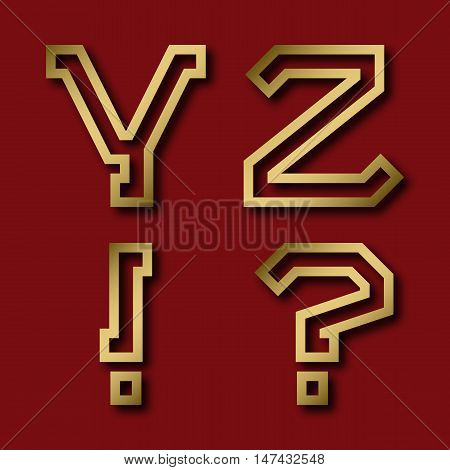 Y Z gold angular letters exclamation and question marks with shadow. Trendy and stylish golden font.