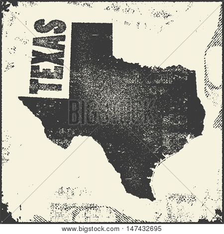 Texas vector map stamp. Retro distressed insignia with US state map.  USA state map vector illustration.