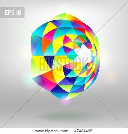 Colorful cone abstract. Colorful triangle geometric shape logo symbol icon graphic vector. Retro triangle background