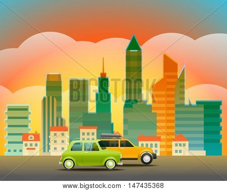 Cityscape with the glass pin. City trafic illustration