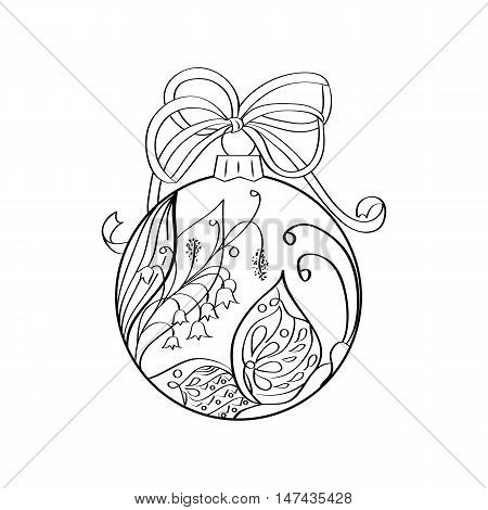 Vector christmas ball with summer ornament inside - butterfly and lilies of the valley. Coloring page for adult. Zentangle element for design. Xmas and new year holiday theme