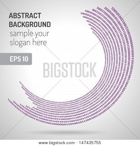 Digital code background abstract vector illustration. Binary computer code. Digital ring