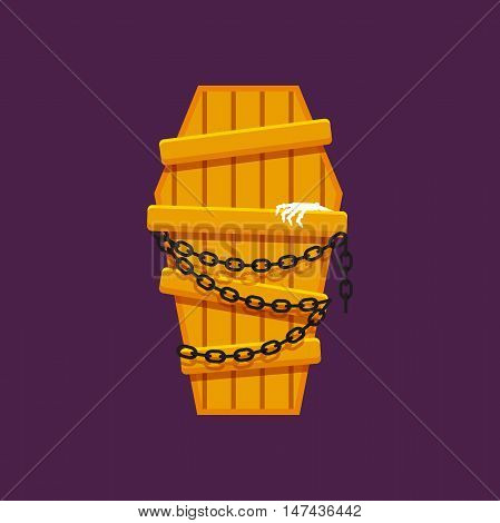 Stock vector illustration a wooden coffin with chains for halloween in a flat style