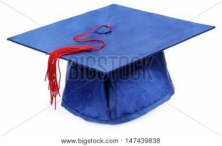 Close up of Graduation cap over white background