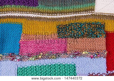 striped colorful wool texture handmade patten closeup macro blue red green yellow  pink golden purple