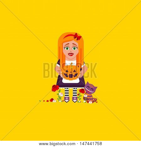 Stock vector illustration a girl is holding a pumpkin, character for halloween in a flat style