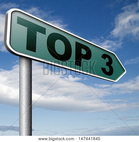 top 3 chart pop poll results ranking of quiz or sport results 3D illustration