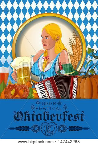 Poster for Oktoberfest. German cute girl waitress in traditional clothes holding yellow beer mugs. Oktoberfest design. Beer festival. Vector illustration