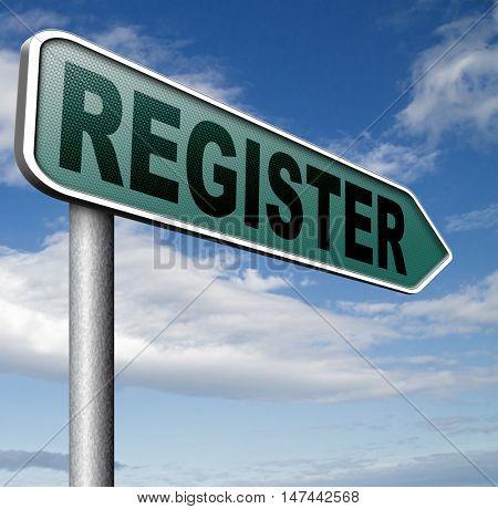 register now onine member registration sign  3D illustration