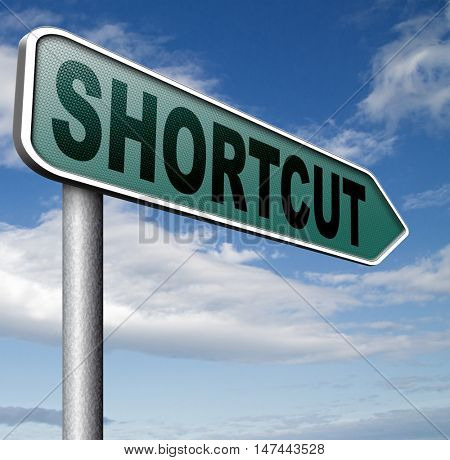 shortcut short route cut distance fast easy way bypass 3D illustration