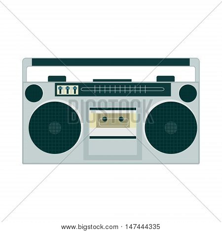 Set Of Retro Music Gadgets From 21-st Century. Old Musical Devices Vector Illustration. Tape Stereo